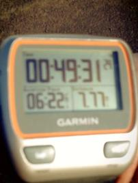 My watch at the end of the race. You can't hear me panting above it.