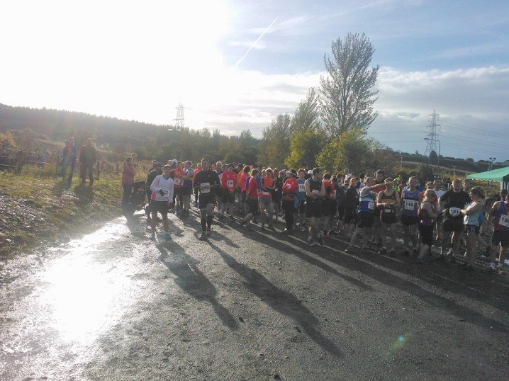 The 150+ runners milling around at the start of the race